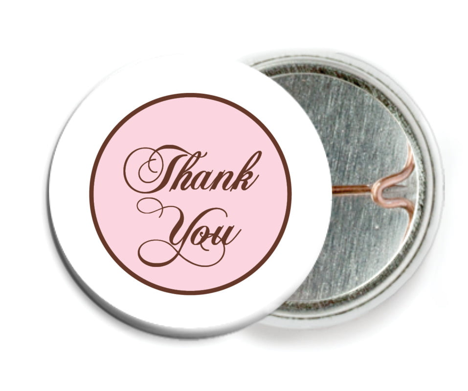 custom pin back buttons - cocoa & pink - bordeaux (set of 6)