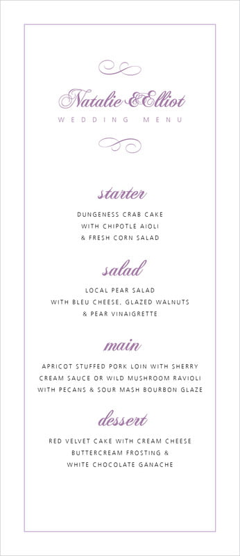 custom menus - lilac - bordeaux (set of 10)