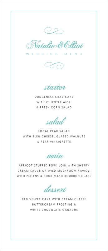 custom menus - aruba - bordeaux (set of 10)