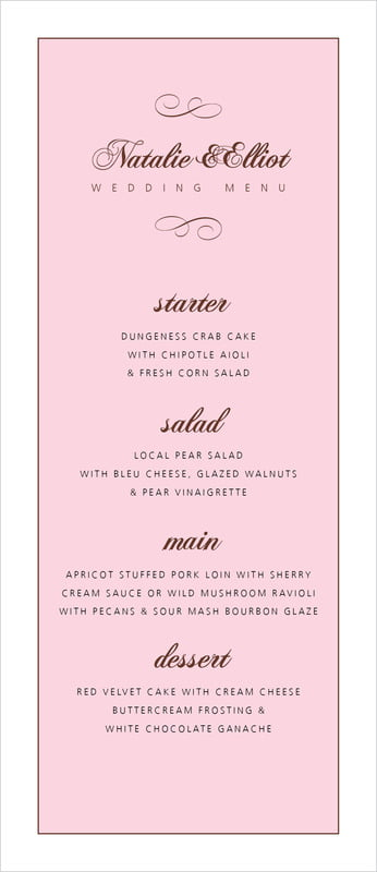 custom menus - cocoa & pink - bordeaux (set of 10)