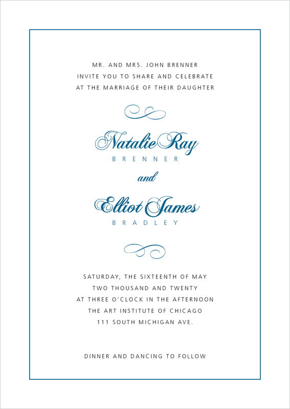 custom invitations - blue - bordeaux (set of 10)