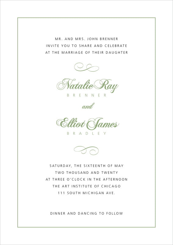 custom invitations - sage - bordeaux (set of 10)