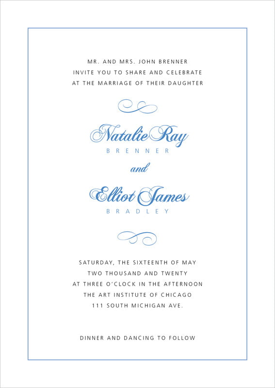 custom invitations - periwinkle - bordeaux (set of 10)