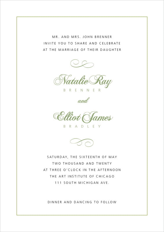 custom invitations - green tea - bordeaux (set of 10)