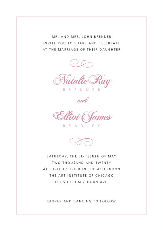 custom invitations - pale pink - bordeaux (set of 10)