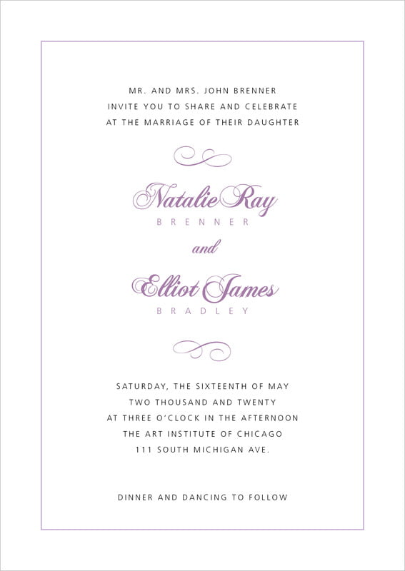custom invitations - lilac - bordeaux (set of 10)