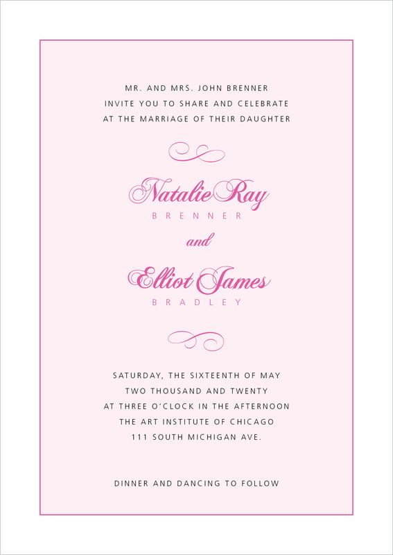 custom invitations - bright pink - bordeaux (set of 10)