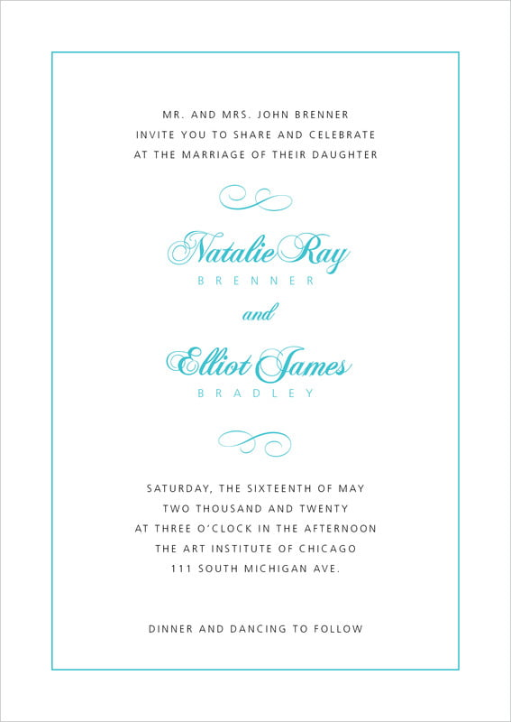 custom invitations - bahama blue - bordeaux (set of 10)