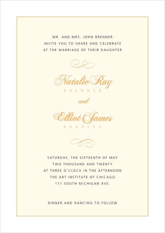 custom invitations - tangerine - bordeaux (set of 10)