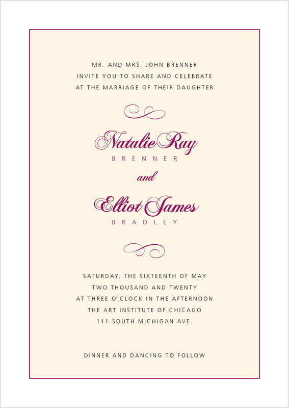 custom invitations - burgundy - bordeaux (set of 10)