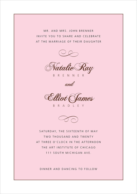 custom invitations - cocoa & pink - bordeaux (set of 10)