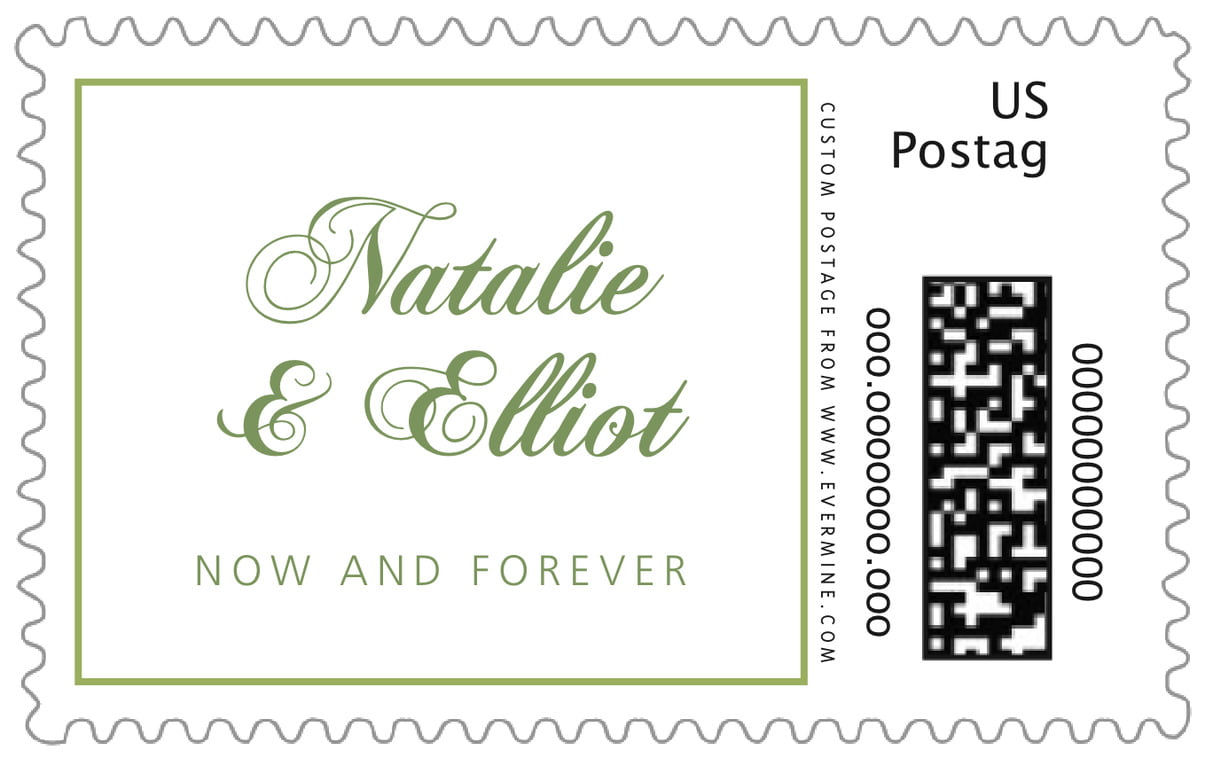 custom large postage stamps - green tea - bordeaux (set of 20)