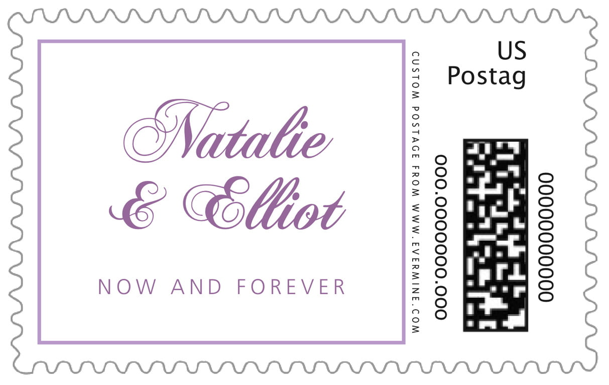 custom large postage stamps - lilac - bordeaux (set of 20)