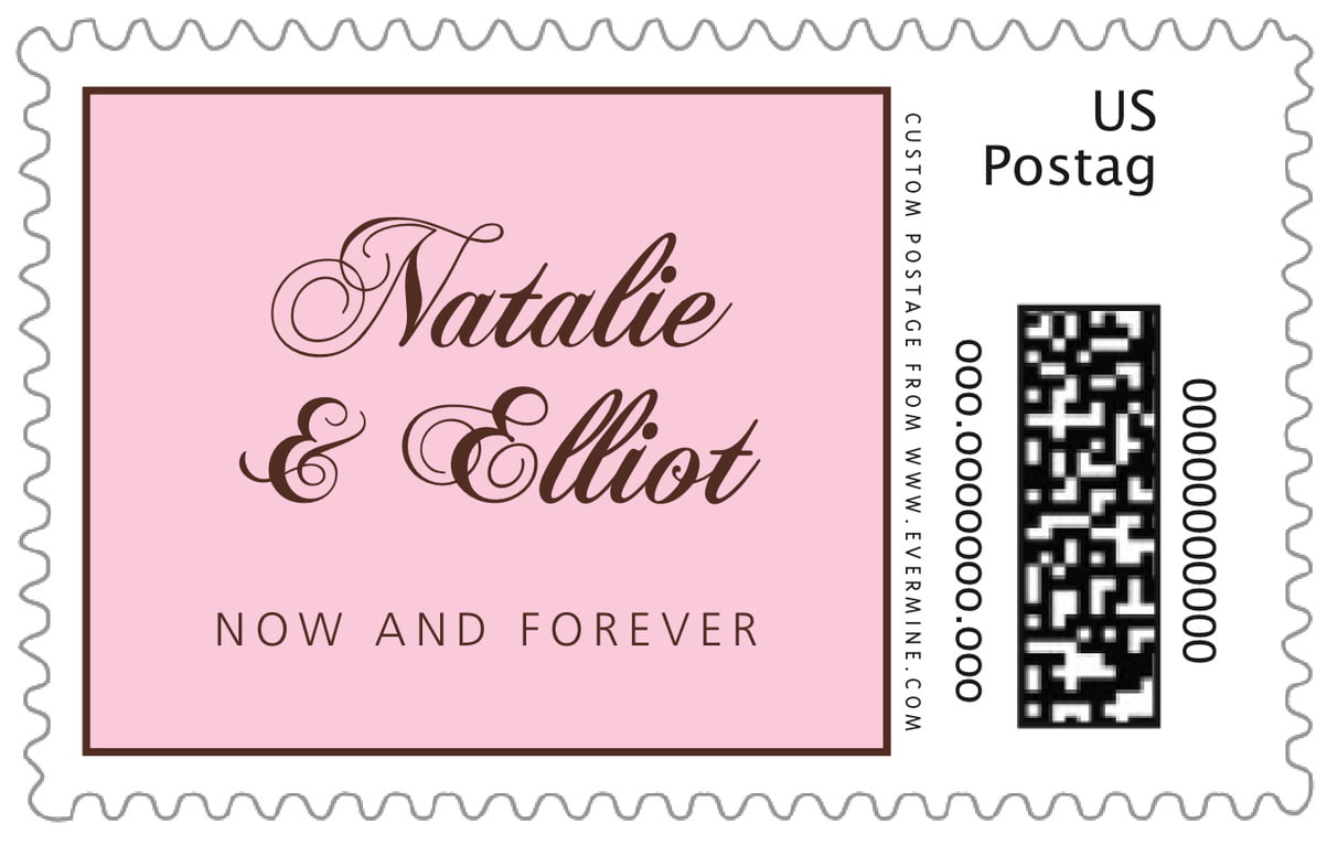 custom large postage stamps - cocoa & pink - bordeaux (set of 20)