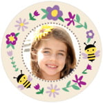 Bumble Bee Circle Photo Label In Lilac