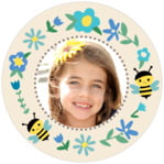 Bumble Bee Circle Photo Label In Bahama Blue