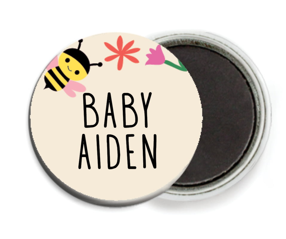 custom button magnets - bright pink - bumble bee (set of 6)