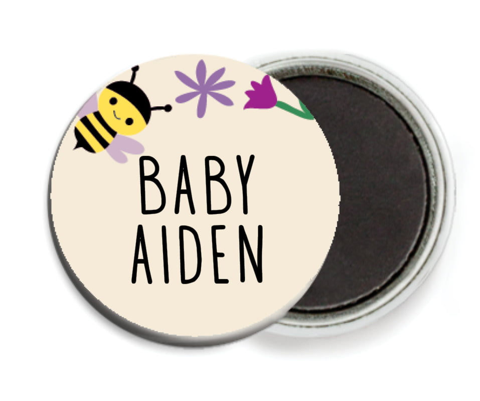 custom button magnets - lilac - bumble bee (set of 6)