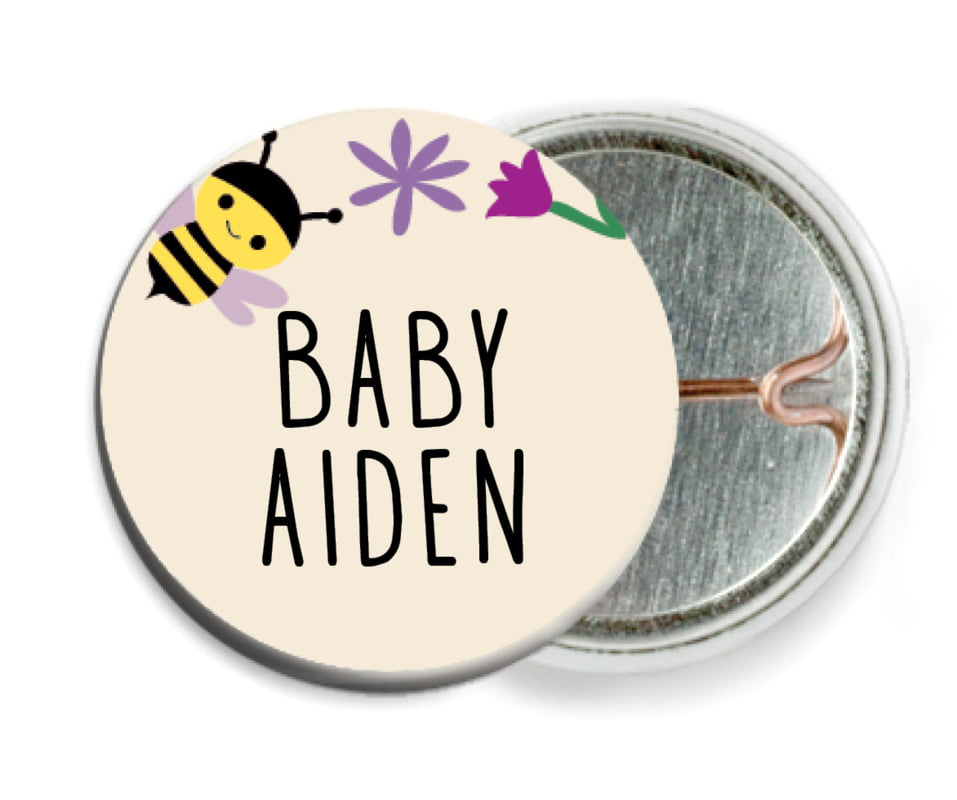 custom pin back buttons - lilac - bumble bee (set of 6)