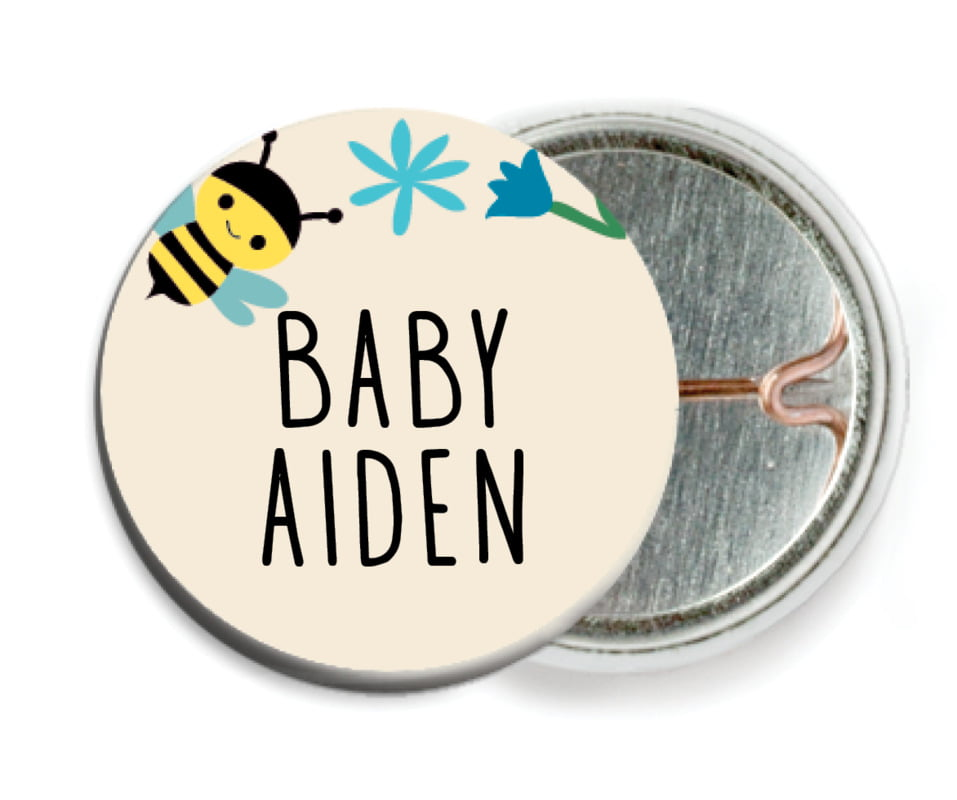 custom pin back buttons - bahama blue - bumble bee (set of 6)