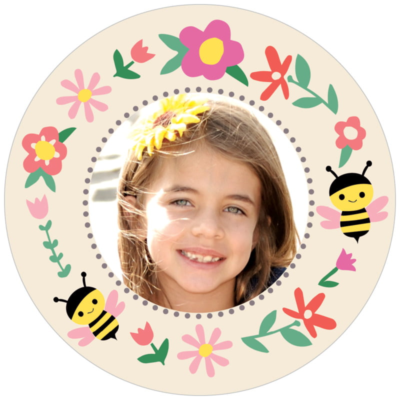 circle photo labels - bright pink - bumble bee (set of 20)