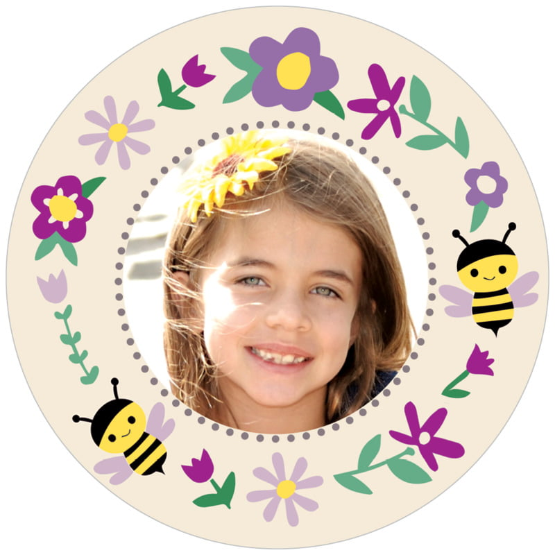 circle photo labels - lilac - bumble bee (set of 20)