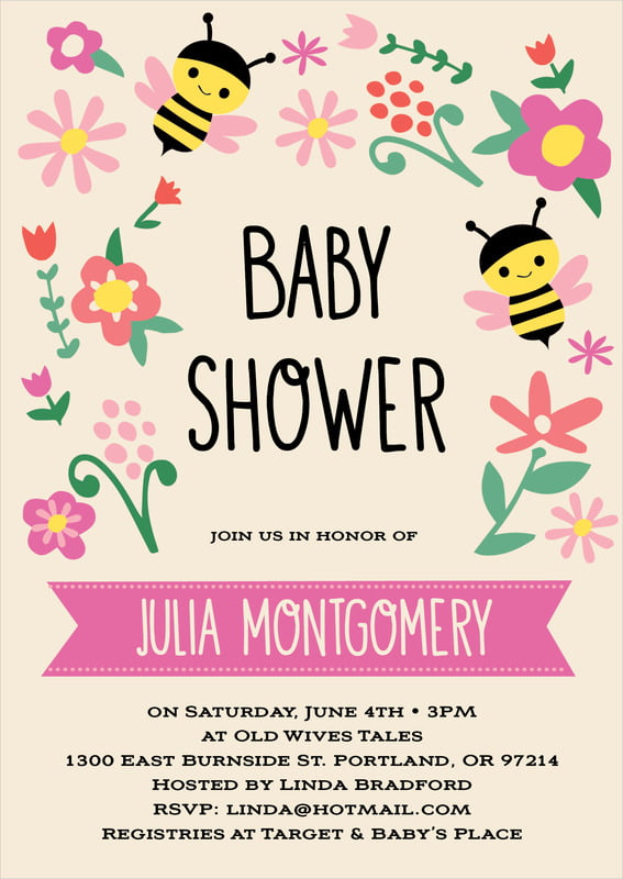 baby shower invitations - bright pink - bumble bee (set of 10)