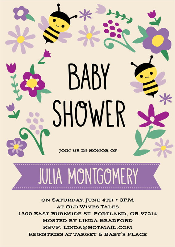 baby shower invitations - lilac - bumble bee (set of 10)