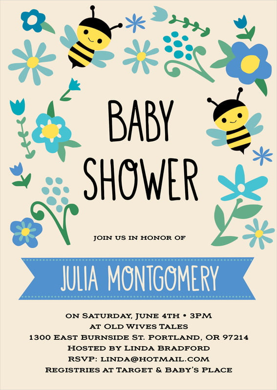 baby shower invitations - bahama blue - bumble bee (set of 10)