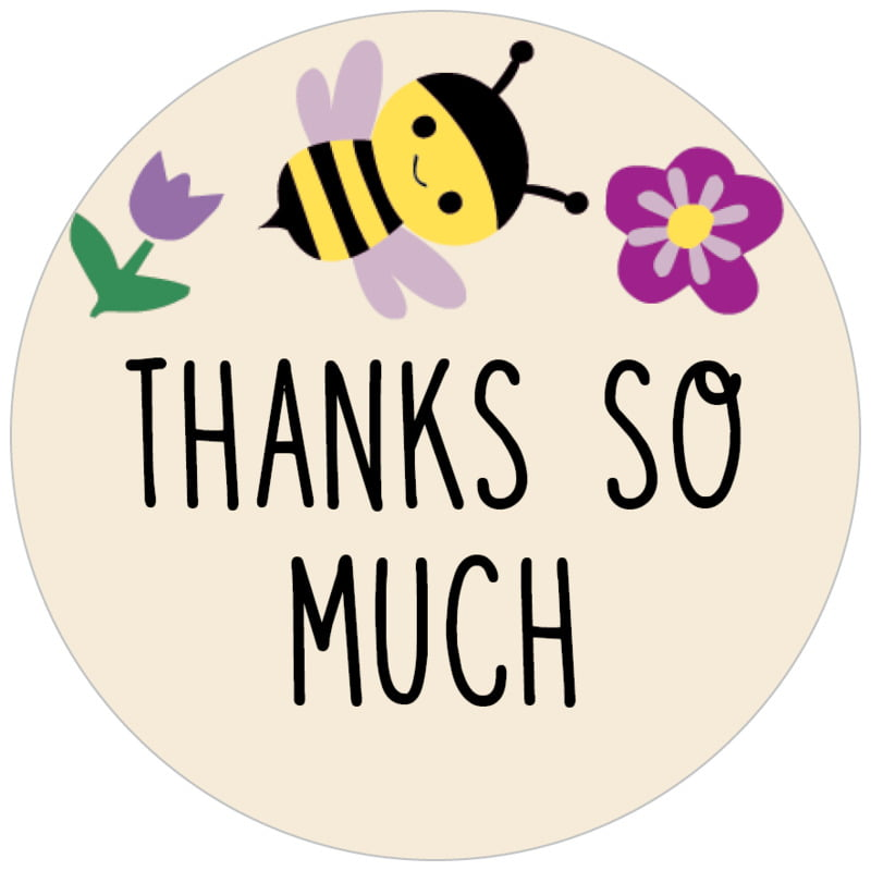 circle food/craft labels - lilac - bumble bee (set of 35)