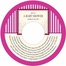 Candystripes baby shower CD/DVD labels
