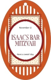 Candystripes bar/bat mitzvah tags