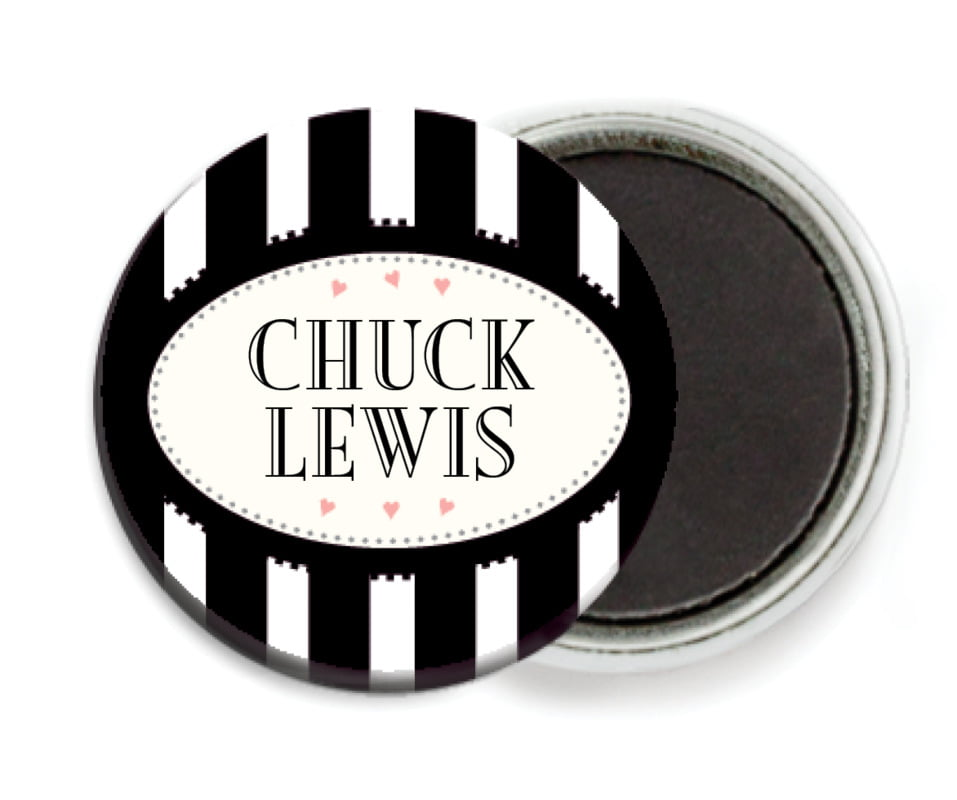 custom button magnets - tuxedo - candystripes (set of 6)
