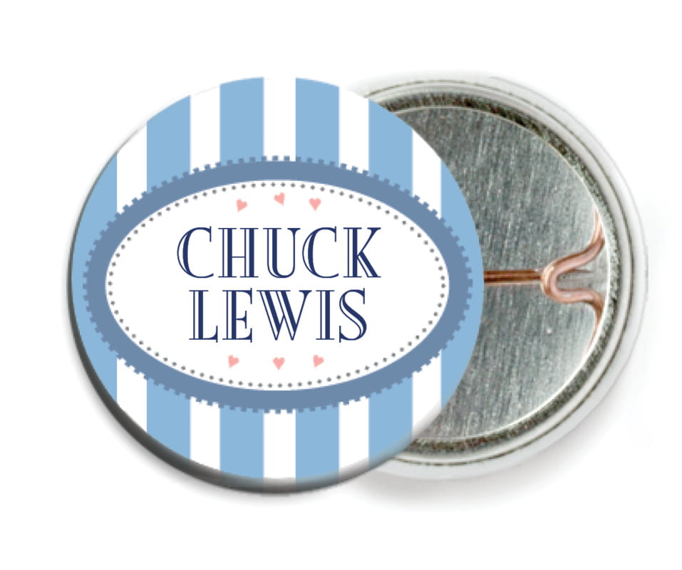 custom pin back buttons - blue - candystripes (set of 6)