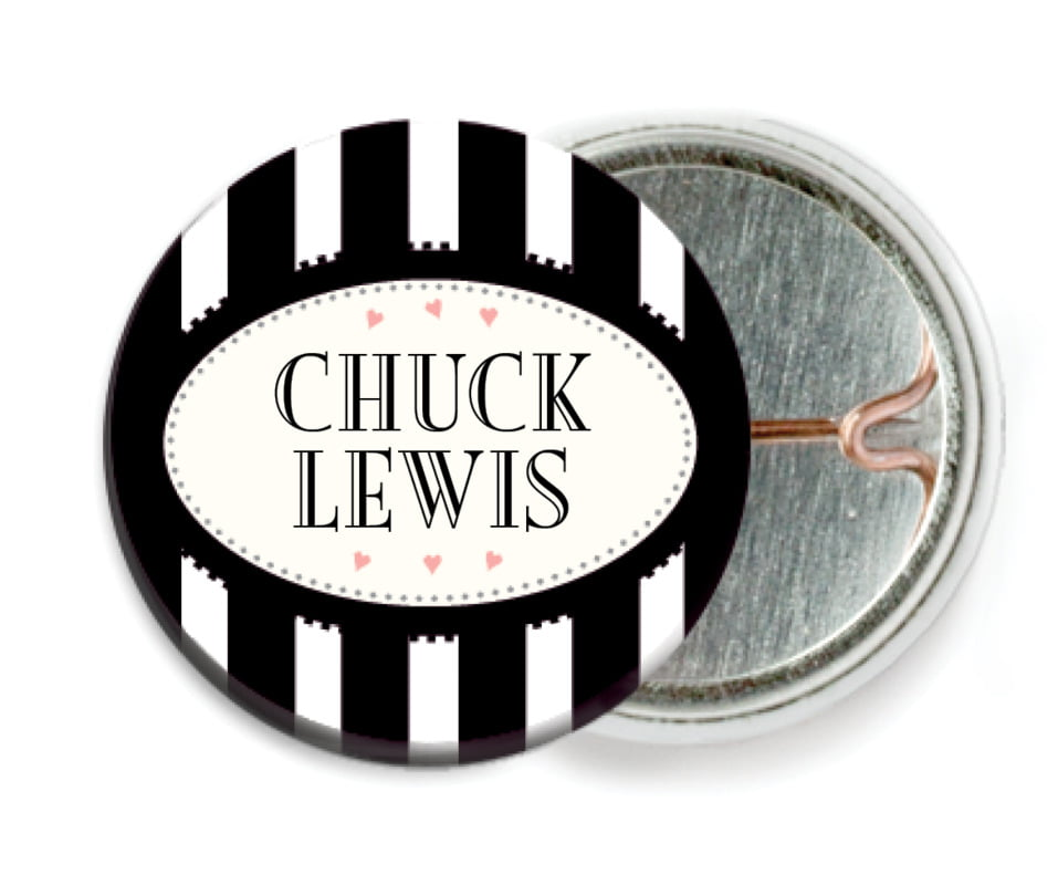 custom pin back buttons - tuxedo - candystripes (set of 6)