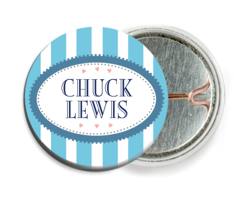 custom pin back buttons - sky - candystripes (set of 6)
