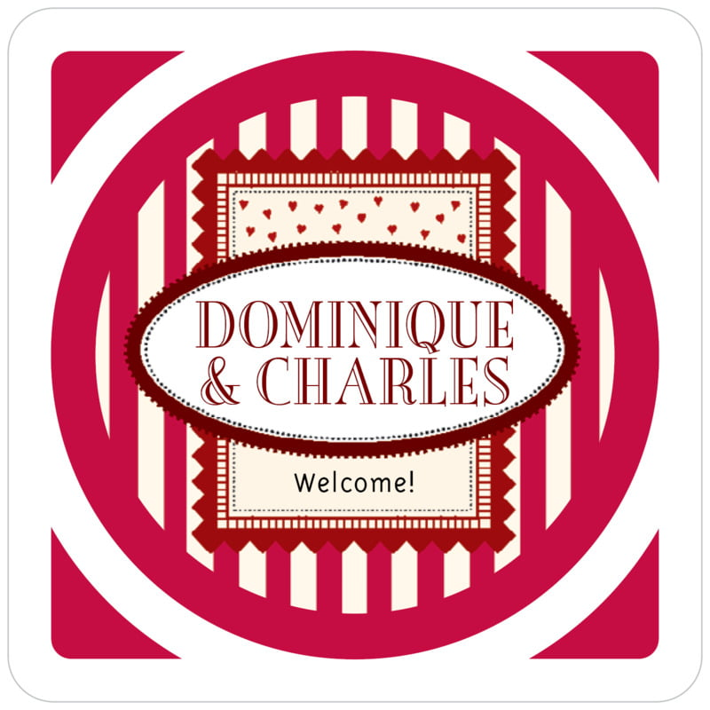 square holiday coasters - deep red - candystripes (set of 12)