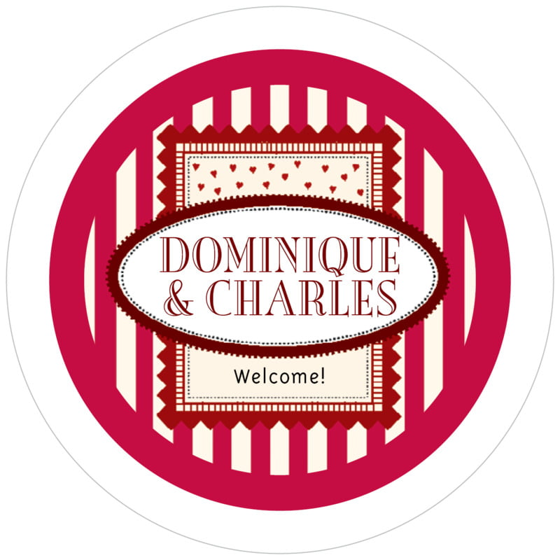 round holiday coasters - deep red - candystripes (set of 12)