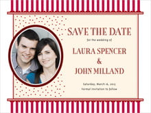 custom save-the-date cards - deep red - candystripes (set of 10)