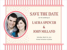 custom save-the-date cards - grapefruit - candystripes (set of 10)