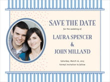 custom save-the-date cards - blue - candystripes (set of 10)