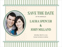 custom save-the-date cards - sage - candystripes (set of 10)