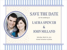 custom save-the-date cards - periwinkle - candystripes (set of 10)