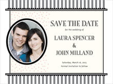 custom save-the-date cards - tuxedo - candystripes (set of 10)