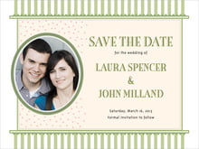 custom save-the-date cards - green tea - candystripes (set of 10)