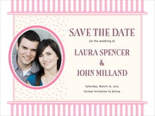 custom save-the-date cards - pale pink - candystripes (set of 10)
