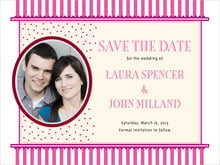 custom save-the-date cards - bright pink - candystripes (set of 10)
