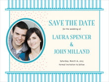 custom save-the-date cards - bahama blue - candystripes (set of 10)