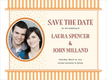 custom save-the-date cards - tangerine - candystripes (set of 10)