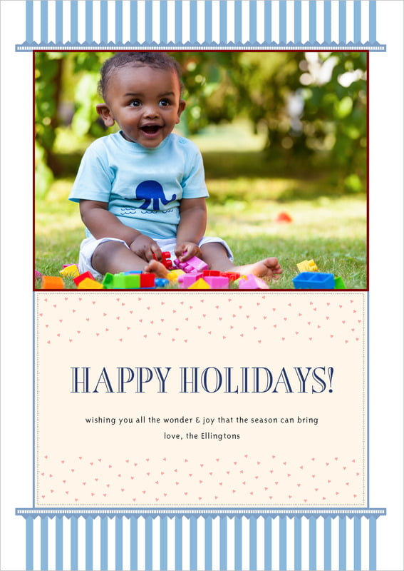 holiday cards - blue - candystripes (set of 10)